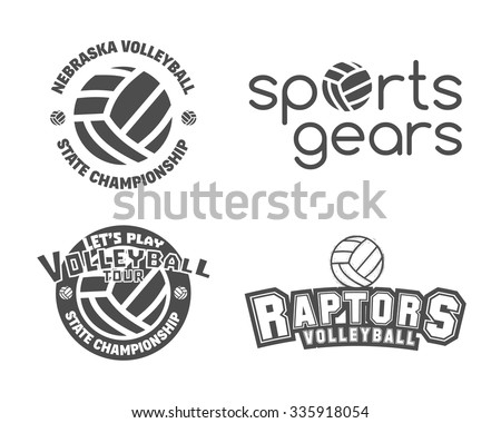 Volleyball labels, badges, logo and icons set. Sports insignias. Best for volley club, league competition, sport shops, sites or magazines. Use it as print on tshirt. Vector illustration