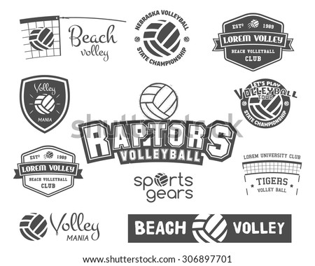 volleyball labels  badges  logo