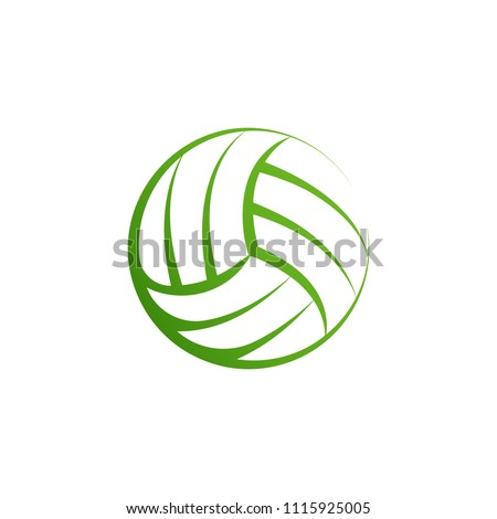 Volleyball logo element, vector volley ball icon, isolated sport sign template. Summer beach ball, vector illustration on white background.