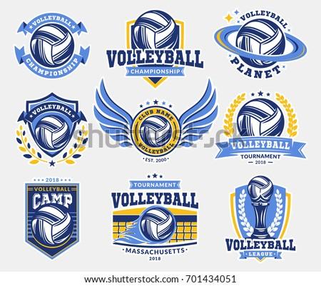 volleyball logo  emblem set