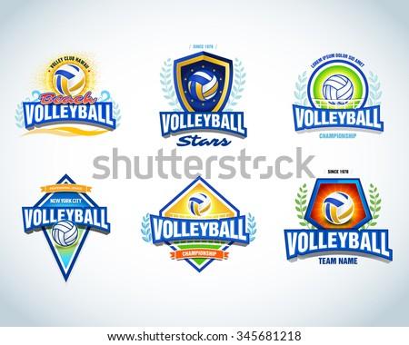 Volleyball logo templates set. Volleyball emblem, logotype template, t-shirt apparel design. Volleyball ball. Sport team badge for tournament or championship. Vector set.