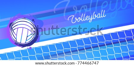 Volleyball net and ball in vector. Sport banner. Championship and team.