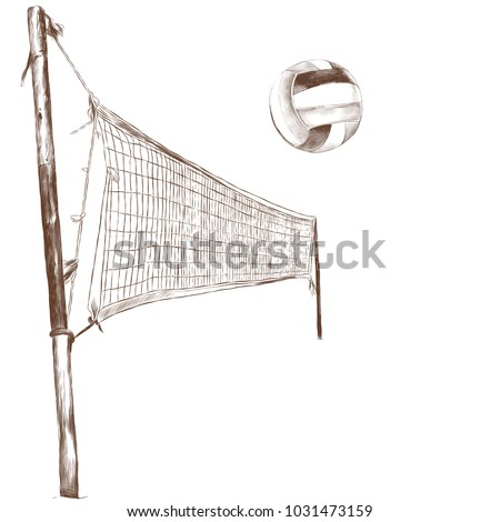 volleyball net and volleyball ball in flight, sketch vector graphics monochrome pattern