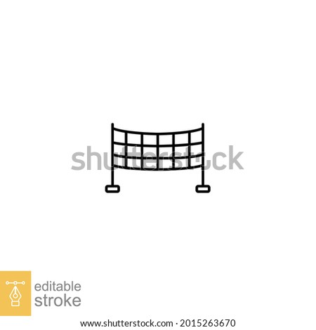 volleyball net, sport icon. Badminton net, Sport nets, field equipment, badminton competition. Pictogram line style symbol. Editable stroke vector illustration. Design on white background. EPS 10