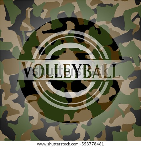 volleyball on camo pattern