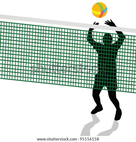 volleyball player black silhouette illustration on white