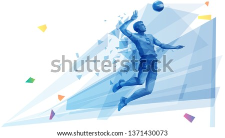 Volleyball player on the attack