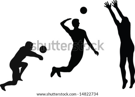 Volleyball Player Silhouettes Vector 14822734