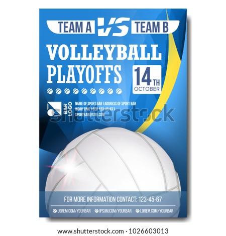 Volleyball Poster Vector. Design For Sport Bar Promotion. Volleyball Ball. Modern Tournament. Championship Label A4 Size. Game Illustration