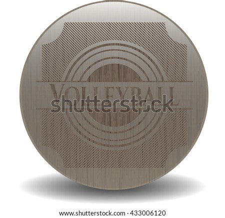 Volleyball realistic wooden emblem