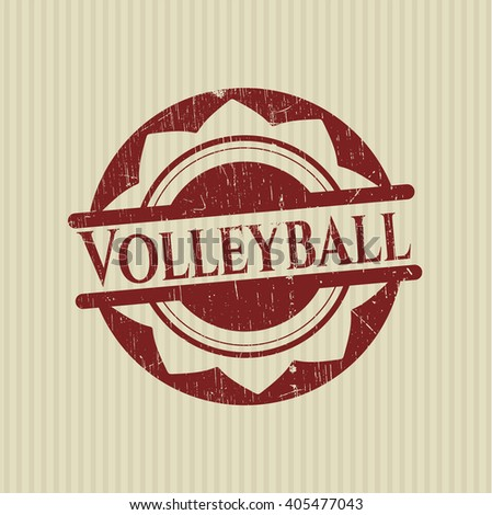 Volleyball rubber stamp with grunge texture