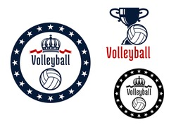 Volleyball sport game heraldic emblems with round frame, royal crown, trophy cup and white ball for sports design