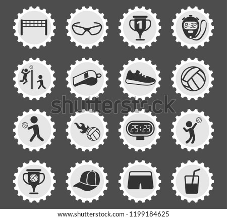 volleyball vector icons for web and user interface design
