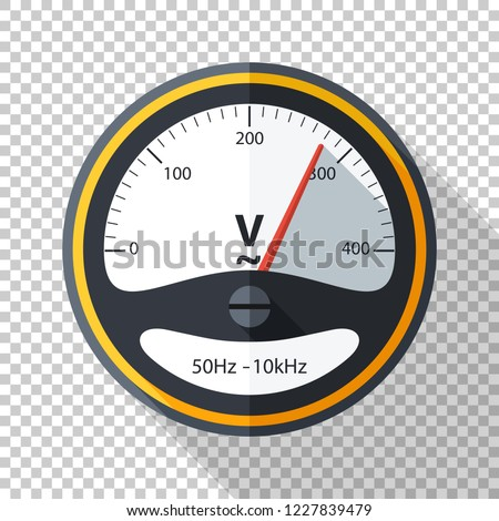 Voltmeter icon in flat style with long shadow on transparent background
