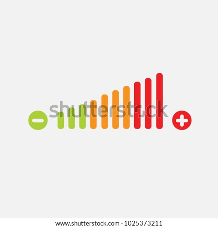 volume adjustment vector icon high medium and low negative and positive sign