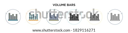 Volume bars icon in filled, thin line, outline and stroke style. Vector illustration of two colored and black volume bars vector icons designs can be used for mobile, ui, web