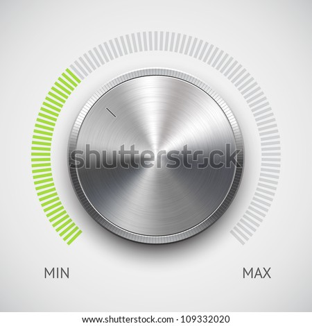 Volume button (music knob) with metal texture (steel, chrome), green scale and light background. Vector illustration.