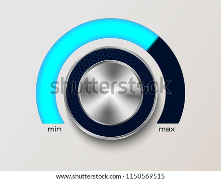 Volume controler with glowing dial. With metal, chrome elements.