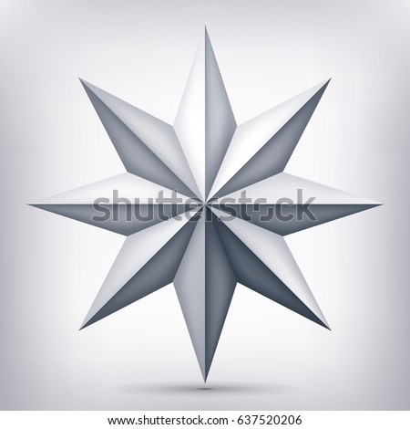 Volume eight-pointed gray star, 3d object, geometry shape, mesh version, abstract vector