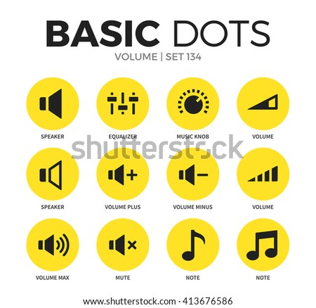 Volume flat icons set with speaker, volume max and equalizer isolated vector illustration on white