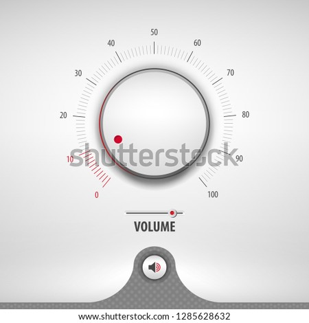 volume for media player containing: two audio app designs, volume control knob, 3d button, textured pattern, stainless steel background, eps10 vector illustration