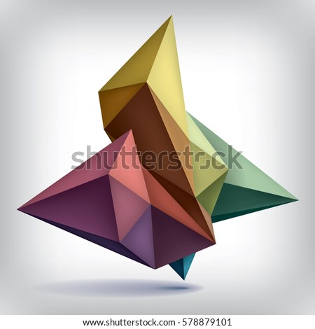 Volume geometric shape, 3d color crystals, abstraction low polygons object, vector design forms