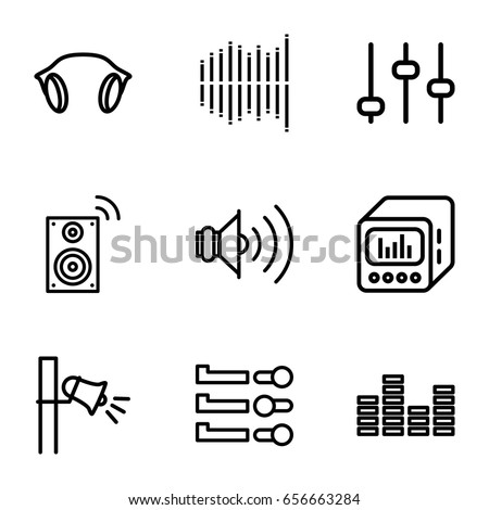 Volume icons set. set of 9 volume outline icons such as megaphone, equalizer, earphones, loud speaker with equalizer, volume, music loudspeaker, adjust