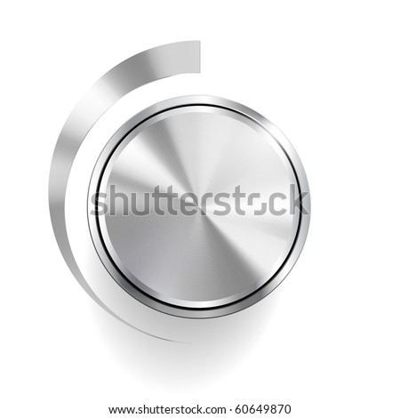 Volume Knob Control Isolated on white (Vector)