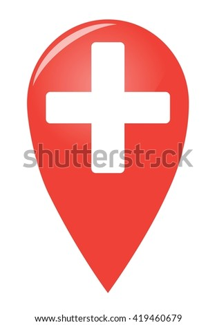 Volume medical red pin. Isolated vector illustration
