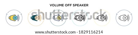 Volume off speaker icon in filled, thin line, outline and stroke style. Vector illustration of two colored and black volume off speaker vector icons designs can be used for mobile, ui, web