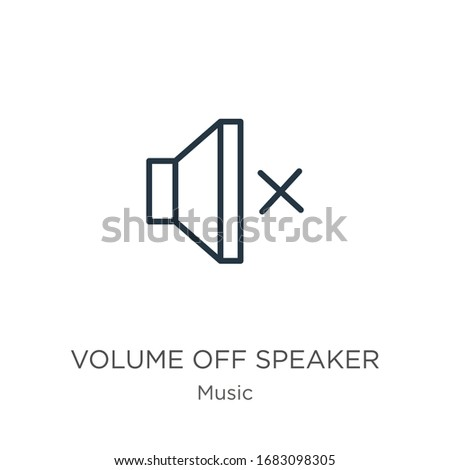 Volume off speaker icon. Thin linear volume off speaker outline icon isolated on white background from music and multimedia collection. Line vector sign, symbol for web and mobile