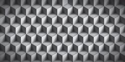 Volume realistic texture, cubes, gray 3d geometric pattern, design vector background