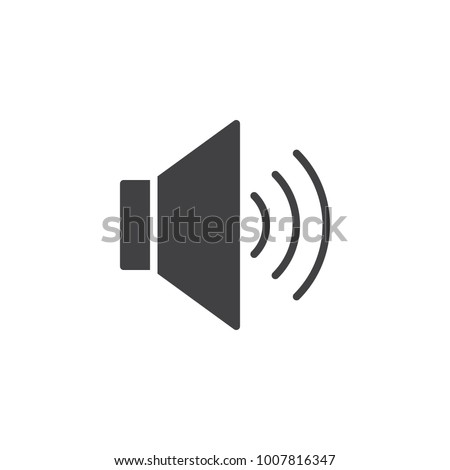 Volume up sound icon vector, filled flat sign, solid pictogram isolated on white. Megaphone speaker symbol, logo illustration.