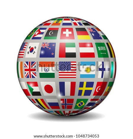 Volumetric ball with flags of different countries. Vector illustration.
