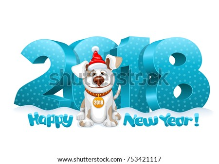 Volumetric digits 2018 in the snow and cute fun dog, zodiac symbol of the 2018 Year. Cheerful inscription Happy New Year. Vector illustration.