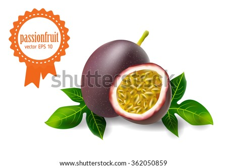 volumetric passion fruit set vector icon illustration isolated. Page, web design element. realistic 3d image