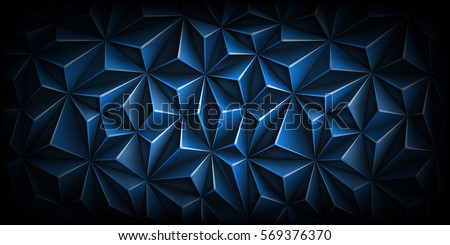 Volumetric polygonal dark blue pattern. Vector luxury abstract background. Modern horizontal dynamic fond. Triangle. Black edges. Backdrop.