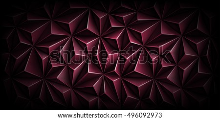 Volumetric polygonal dark magenta pattern. Vector luxury abstract background. Modern horizontal dynamic fond. Triangle.