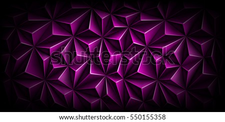 Volumetric polygonal dark magenta pattern. Vector luxury abstract purple background. Modern horizontal violet dynamic fond. Triangle