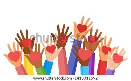 Voluntary and donation flat vector illustration. Volunteers, social workers holding hearts in palms. Children raising hands. Multiethnic society unity, togetherness. Charity, fostering, social help