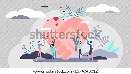 Voluntary help concept, flat tiny persons vector illustration. Global health and financial crisis aid, and charity foundation activity. Social help support program. Abstract heart handshake symbol.