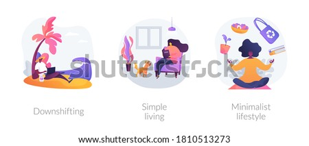 Voluntary lifestyle abstract concept vector illustration set. Downshifting, simple living, minimalist lifestyle, escape, find balance, reduce consumption and buying, low expenses abstract metaphor.