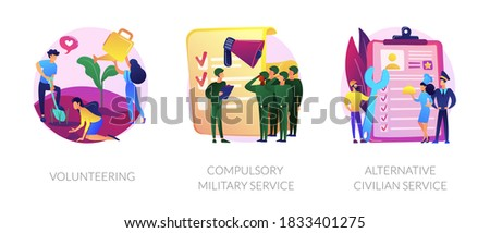 Voluntary work, country protection, employment industry icons set. Volunteering, compulsory military service, alternative civilian service metaphors. Vector isolated concept metaphor illustrations ストックフォト ©