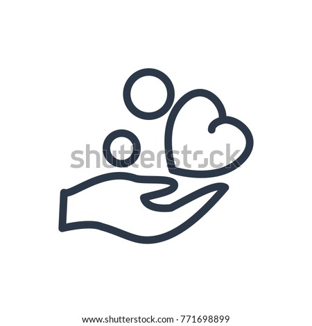 Volunteer care icon. Isolated save heart and volunteer care icon line style. Premium quality care icon vector symbol drawing concept for your logo web mobile app UI design.