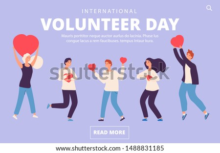 Volunteer day concept. Charity, volunteering vector landing page template
