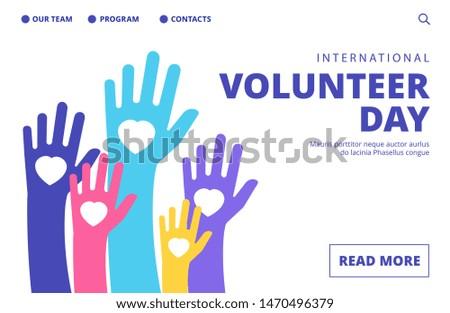 Volunteer day landing page. Vector volunteering banner template. Illustration volunteer day support, charity and help