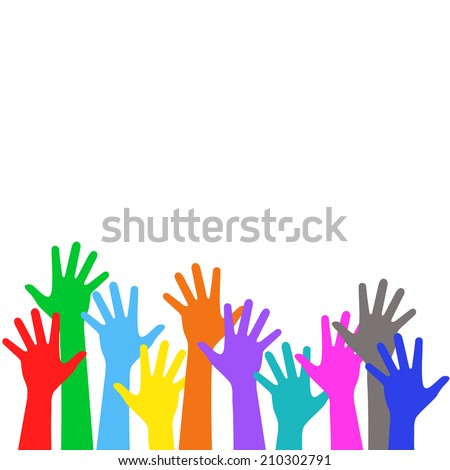 Volunteer education poster mockup,  colorful children hands up is lifted upwards holiday background