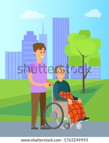 Volunteer helping granny in wheelchair unable to walk, in green park with trees. Vector cartoon person helps to old woman, charity volunteering organization