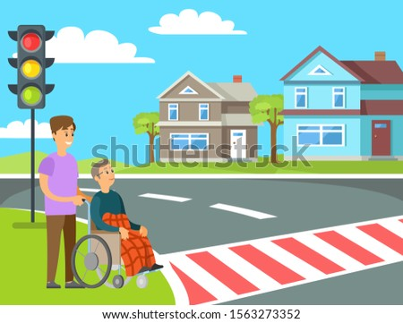 Volunteer helping granny in wheelchair unable to walk to cross street on crosswalk or pedestrian crossing. Vector person helps to old woman, charity volunteering