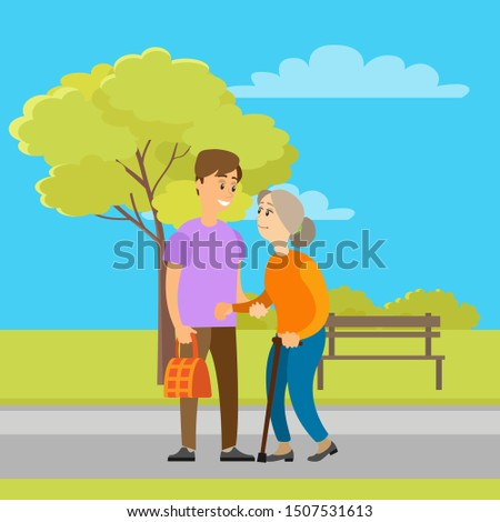 Volunteer helping granny to carry bag in green park with trees and bench. Person helps to old woman, charity volunteering organization. Vector illustration in flat cartoon style